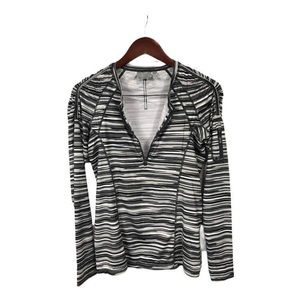 Athleta Printed Pacifica Shirt- Black/Gray, Small